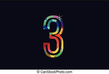 rainbow colored number 3 logo company icon design