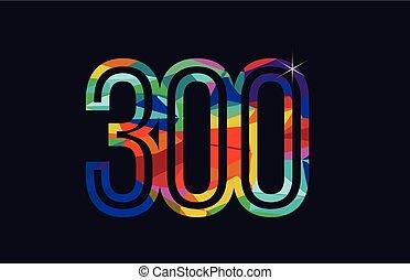 rainbow colored number 300 logo company icon design