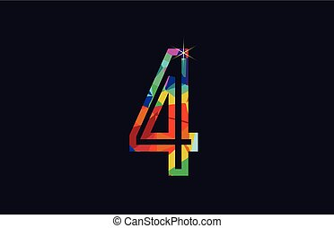 rainbow colored number 4 logo company icon design
