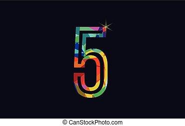 rainbow colored number 5 logo company icon design