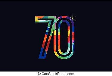 rainbow colored number 70 logo company icon design