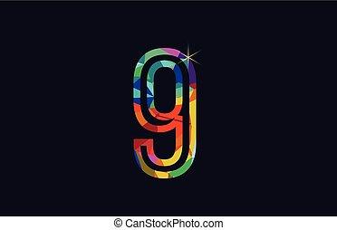 rainbow colored number 9 logo company icon design