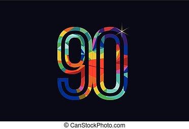 rainbow colored number 90 logo company icon design