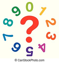 Rainbow colored numbers and a red question mark