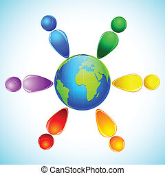 Rainbow Colored People around Globe