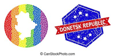 Dotted spectral map of Donetsk Republic mosaic designed with circle and carved shape, and distress seal. LGBT spectrum colored pixels around empty map of Donetsk Republic.