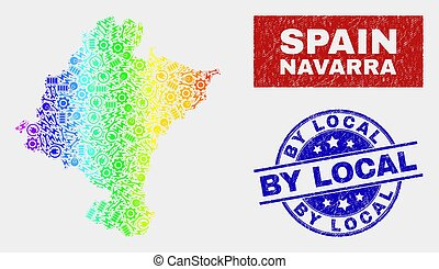 Rainbow Colored Productivity Navarra Province Map and Scratched By Local Seals