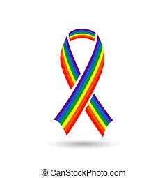 Rainbow colored ribbon awareness icon for LGBT community ...