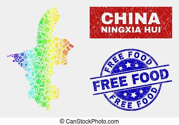 Rainbow Colored Service Ningxia Hui Region Map and Distress Free Food Watermarks
