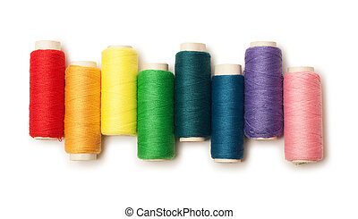 rainbow colored set of threads isolated over white