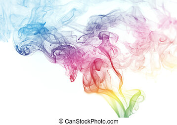Rainbow Colored Smoke - Colorful smoke curves isolated on...