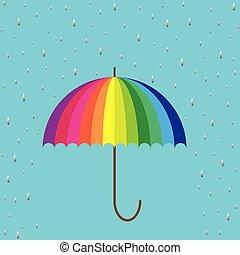 umbrella on blue background with raindrops