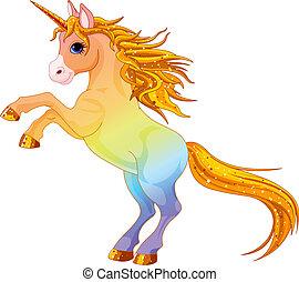 Cartoon rainbow colored unicorn rearing up