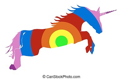 Rainbow colored unicorn on white