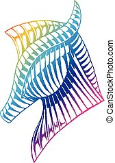 Rainbow Colored Vectorized Ink Sketch of a Horse - Rainbow...