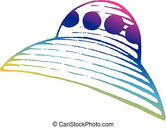 Rainbow Colored Vectorized Ink Sketch of Alien Ship Illustration