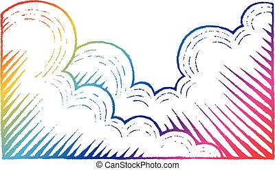 Rainbow Colored Vectorized Ink Sketch of Clouds Illustration...