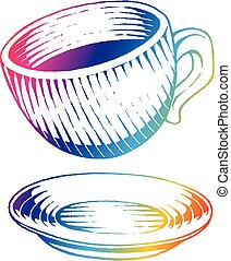 Rainbow Colored Vectorized Ink Sketch of Coffee Cup Illustration