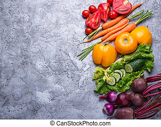 Rainbow colored vegetables.