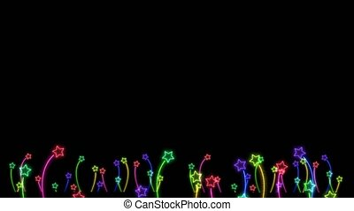 Rainbow colorful big and tiny flowers stars dancing on black...