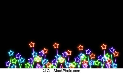 Rainbow colorful big and tiny flowers stars slow dancing on black screen