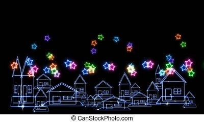 Rainbow colorful big and tiny stars neon light greetings for holiday over village on black screen