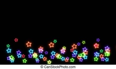 rainbow colorful big and tiny stars neon light sign elements slow dancing on black screen