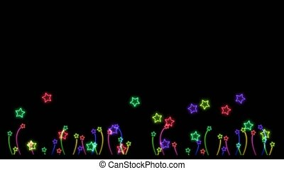rainbow colorful big stars and tiny flowers stars neon light sign elements dancing on black screen