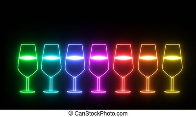 rainbow colorful small and big champagne glass light neon sign elements on black screen