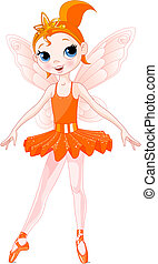 (Rainbow colors ballerinas series). Orange Ballerina