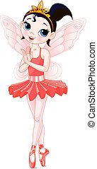 Red Cute fairy ballerina. Wings and glitter are separate groups.