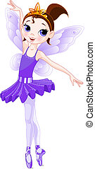 (Rainbow colors ballerinas series). Violet Ballerina