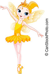 (Rainbow colors ballerinas series). Yellow Ballerina