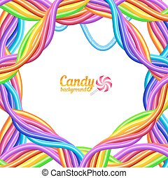 Rainbow colors candy ropes vector bright background