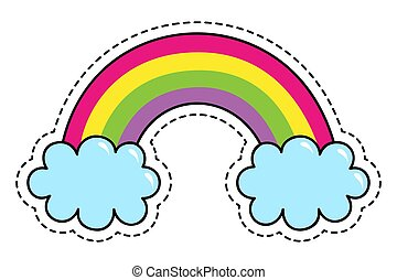 Rainbow colors fantasy patch cute cartoon summer symbol with sky isolated on white background