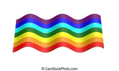 rainbow colors flag wavy, 3d animation loop