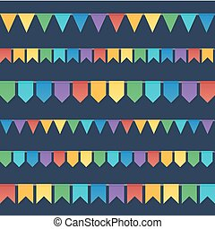 Rainbow colors flat style holiday flags garlands set on dark background