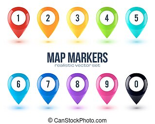 Rainbow colors glossy 3D map point markers