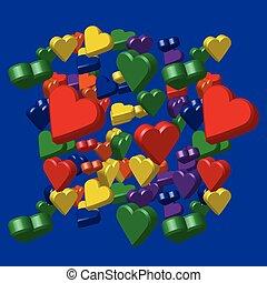 Rainbow Colors Hearts Pattern