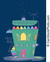 Rainbow Colors House Crayons Illustration