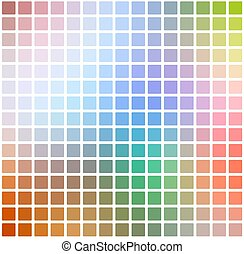 Rainbow colors rounded mosaic background over white square