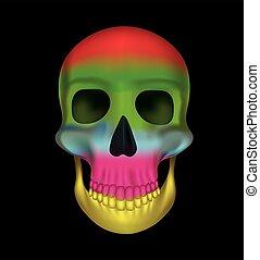 Rainbow colors skull