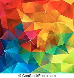 Rainbow colors triangular vector pattern - Rainbow colors...