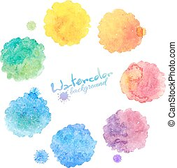 Rainbow colors vector watercolor stains set