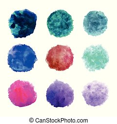 Rainbow colors watercolor paint stains vector backgrounds set. Isolated objects