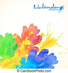 Rainbow colors watercolor painted oak and splashes