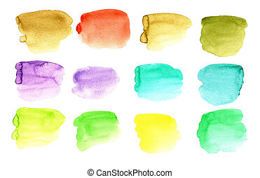 Rainbow colors watercolor spots paint a set of backgrounds for text