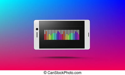 Rainbow coloured bar chart displayed on smartphone