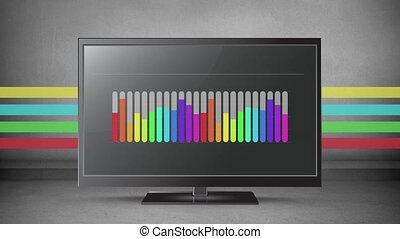 Rainbow coloured bar chart on a flatscreen