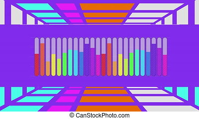 Rainbow coloured bar chart on purple with moving purple grid background